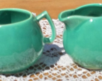 Teal Creamer and Sugar Set