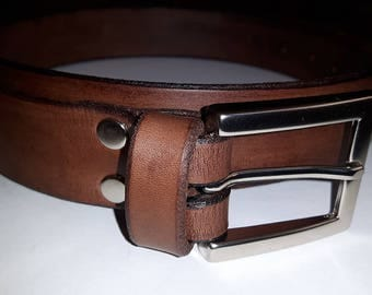Leather belt 30mm - brown - full grain leather - waist 88-102cm - the best price