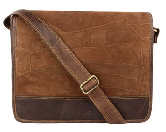 Roma- Brown Patchwork Messenger Bag Hand Patched Up-cycled Genuine Leather