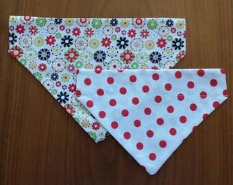 Reversible Dog Bandana - Flowers/polka dots