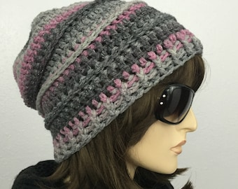 Women Crochet Slouchy Hat Multicolored Color Changing Yarn Winter Women Accessories Fall Fashion