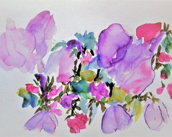 Flower Painting Abstract Painting Watercolor Flowers Floral Painting Original Watercolor Painting