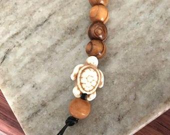 Olive Wood Bead Keychain