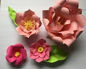 4 Set of Paper Flowers Backdrop