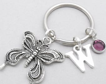 Butterfly monogram keyring | butterfly keychain | personalised butterfly keyring | butterfly accessory | butterfly gift | birthstone