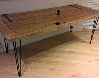 Solid Oak dining table - reclaimed and restored front door
