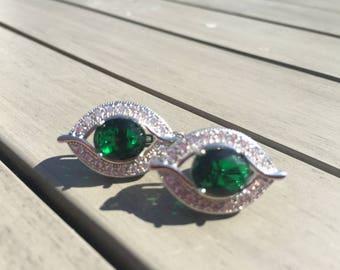 Emerald Green and Topaz Sterling Silver Hoop Earrings Edwardian Style Jewellery Eye Shaped