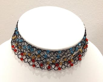 black chokers with color crystal beads