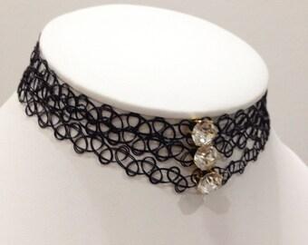 black chokers with diamond bead