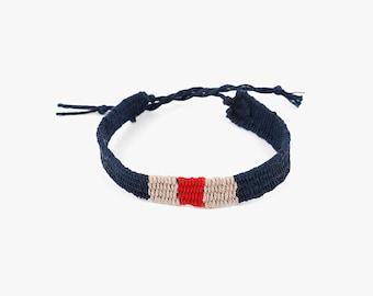 Friendship Handwoven Bracelets-Indigo+Red+Beige,DIY gift,weaving jewelry,Hand woven bracelet,best friend gift,Yarn Bracelet, Boho Jewelry