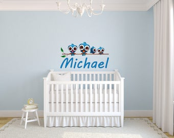 Family birds Wall decal Personalized Name for Baby boy nursery room, Inspirationsarts