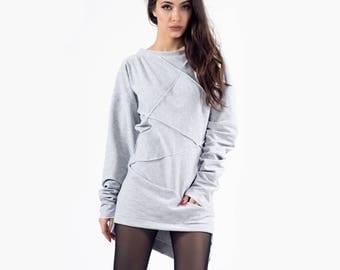 High neck Sweatshirt, Markiiza, Gray Sweatshirt, Sweatshirt, Women sweater,  Oversize Sweatshirt, Pullover Sweatshirt, Gray jumper