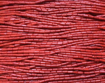 Red Coral, Small Tube Bead, 3x7mm, 15.5mm strand, 1mm hole, one strand