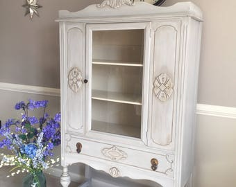 Antique China Cabinet early 1900's - Hand Painted in a Bluish Gray Wash for a Vintage look