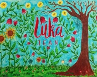 Custom Colour 'Wild Garden' Name Design Artwork