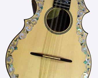 Kaytro - Mandolin Instrument - Handmade - Floral Inlaid Spruce-Solidwood Koa Maple Mandolin MD4673