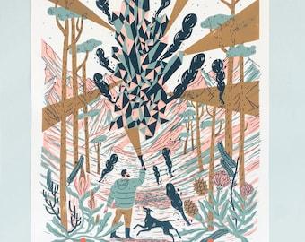 Handpulled Screenprint 'Explorers' Artprint - Poster