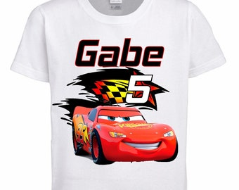Cars Birthday Shirt Personalized With Name and Age