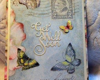 Get Well Soon - Handcrafted Greeting Card w/verse - Get Well Card - W/Heartfelt Messages
