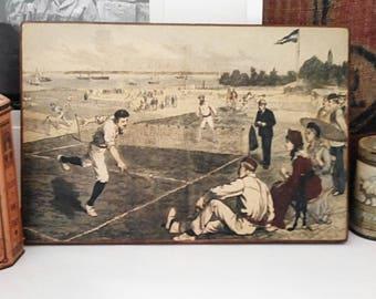 Printing on wood sport, Badminton. France 1950