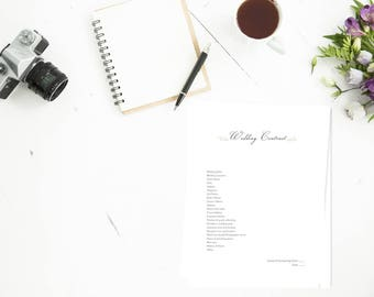Wedding Photography Contract, 3 page Photography wedding contract