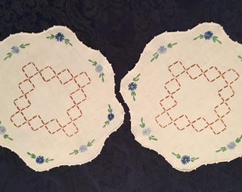 "Vintage Embroidered Set of 2 Linen Doilies 12"" round"
