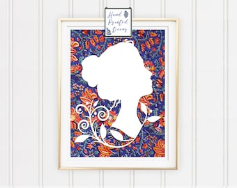 Girl with flowers Wall Art, Girl Home Decor, Floral Print, Wall Art, Bedroom Decor, House Decor, Gift for her, Fabric Print, Fabric Art