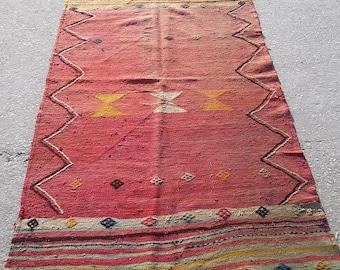 Oushak Vintage Turkish Kılım Rugs,Home Living,Pastel Colors Decoratıce Offfıce Rug,Floor Rugs,3x6ft,