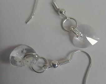 Swarovski clear heart crystal dangly earrings