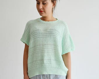 Green short sweater pullover romantic Vintage 90s