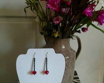 black/red crystal earrings