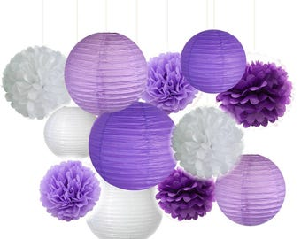 Set of 12 Mixed Purple Lavender White Party Tissue Pom Poms Pompoms Paper Lantern Wedding Birthday Shower Party Hanging Decoration