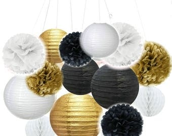 Set of 14 Mixed Black Gold White Paper lantern Tissue Pom poms Honeycomb Balls Wedding Birthday Baby Shower Graduation Party Decorations