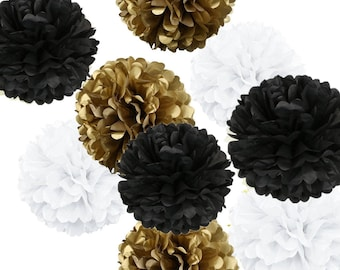 18pcs Mixed Gold Black White Tissue Paper Pom Poms Flower Ball for Weddings Birthday Baby Shower Graduation Party Decorations