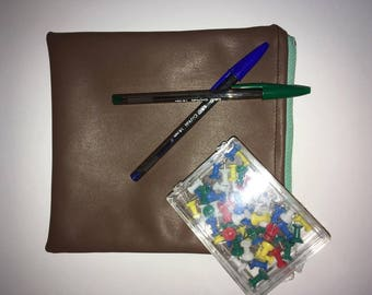 Sale - Pencil case - make up case - brown leather