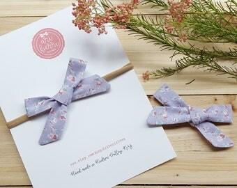 Lavender Floral schoolgirl bow