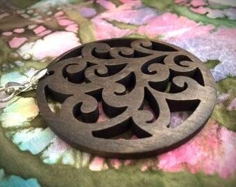 Tree of Life Pendant/ Large Wood Pendant/ Hippie Boho Pendant