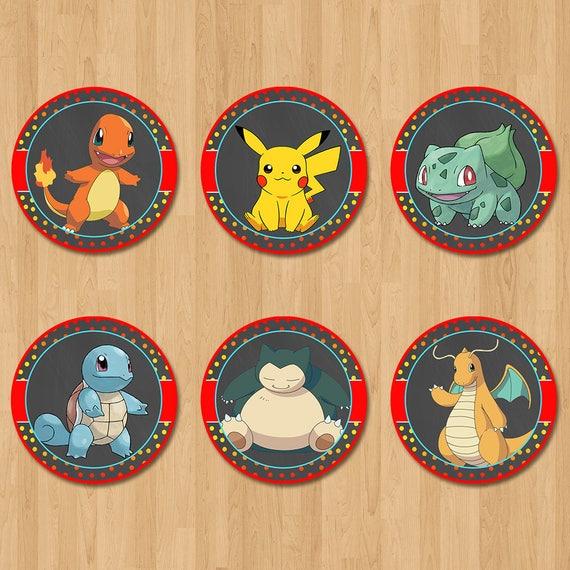 Pokemon Cupcake Toppers - Chalkboard Red, Yellow + Blue - Pokemon Birthday Party - Pokemon Party Favors - Pokemon Sticker - Pikachu Party