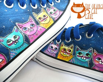 Cat Sneakers Shoes Hand Painted