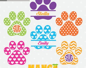 Dog Paws Monogram, Dog Paws Clipart, Dog Paws cutting file, Paw Print SVG, Pet Paw SVG, dxf, downloadable.