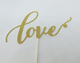 LOVE cake topper gold