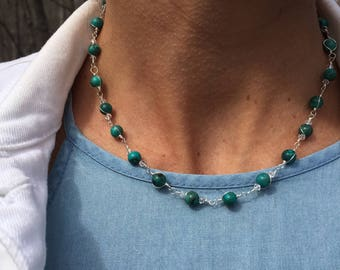 Turquoise and swarovski wire wrapped necklace and earrings