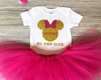 Oh Two-dles Minnie Mouse Birthday Outfit, Minnie Mouse Birthday Outfit. Minnie T-shirt