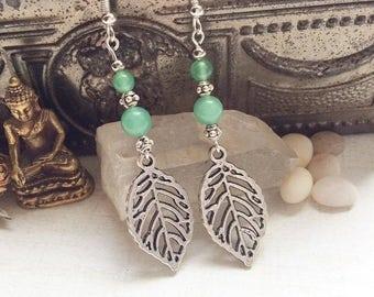 Abenturine Boho Dangle Earrings, Gypsy Gemstone Earrings, Crystal Earrings M10