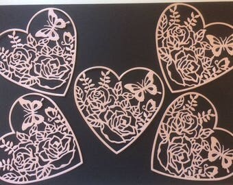 5 x Pastel Pink shimmer large lace die cut hearts