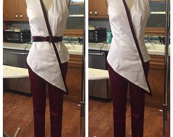 White Vest W/ Quilted Belt