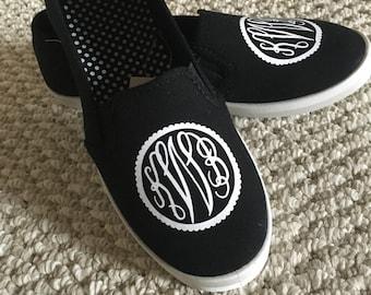 SALE!! Monogrammed slip-on sneakers (Glitter)