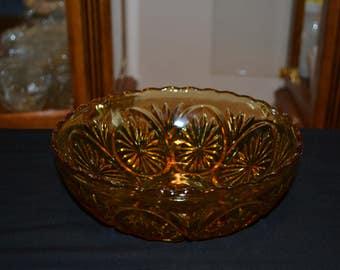 Amber Starburst Pressed glass Bowl