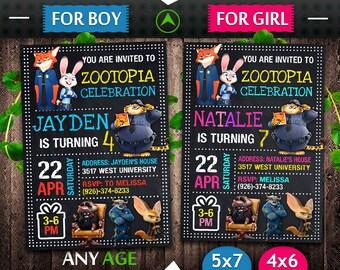 Zootopia Invitation, Zootopia Birthday, Zootopia Invite, Zootopia Party, Zootopia Printable, Zootopia Digital, Zootopia Card