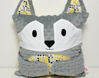 Wolf pillow, minky cushion, Hug-Me pillow, gray and yellow